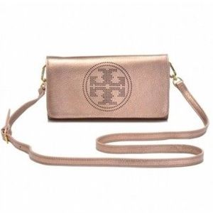 Tory Burch Perforated Logo Royal Salmon Rose